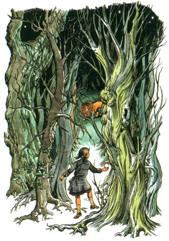 The late Pauline Baynes' illustration of Lucy finally seeing Aslan in the forest.