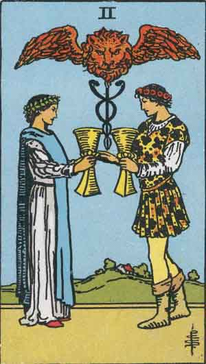 "The 2 of Cups from the Tarot. Psalms 23:5, ""My cup runneth over"""