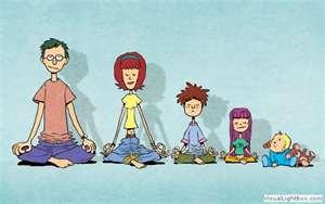 Progressive family doing yga together.