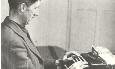 Orwell at the typewriter. Interesting dude.