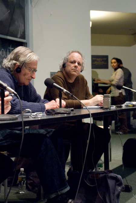 Michael Albert  at right with Professor Noam Chomsky to his left