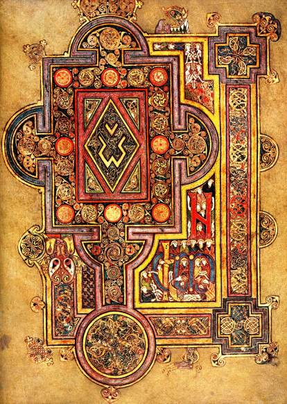 A typical page from the Book of Kells, an illuminated manuscript from ireland.