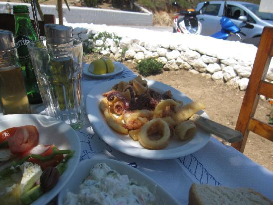 A typical Greek dish of fried calimari and octopus, feta salad, tszaiki sauce. I nearly died of happiness from the food alone  in Greece
