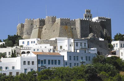The Chora or Hora, which dominates the island's skyline.