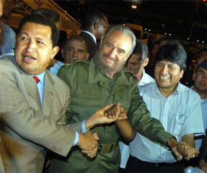 El Presidente!Hugo Chavez, Fidel castro and Evo Morales.