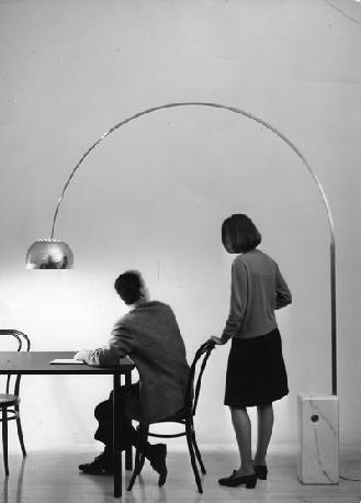 The Arco floor lamp, originally designed by Achille Castiglioni and Pier Giacomo Castiglionii for Flos in 1962