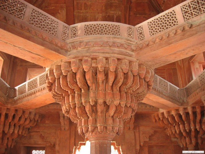 The mughals were obsessed with gardens and flowers, so they decided to bring all that inside. here is a supporting column made to look like a tree. Yup, and it was all done by hand.