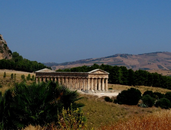 The Greek temple at Segesta, in Sicily.