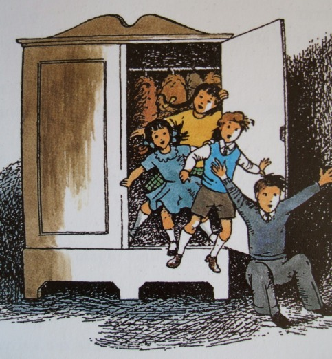 The Pevensie kids returning from Narnia