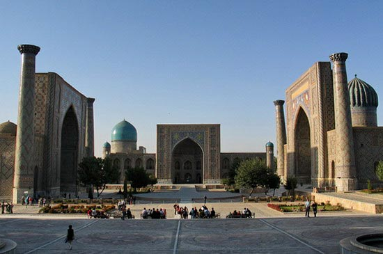 The Registan in Samarkand, Uzbekistan; a triumph of Central Asian Islamic architecture. A few decades earlier Gehghis Khan and his hordes had decimated the population here.