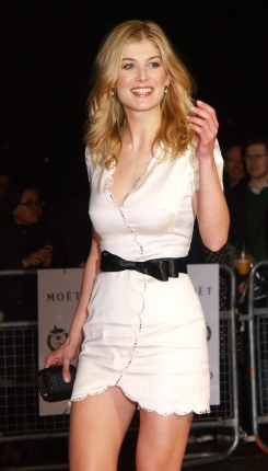 Statuesque blonde bombshell with the complexion of an English Rose, Rosamund Pike studied English lit at Oxford and speaks French and German fluently.