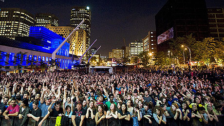 The 100 000+ crowd at last year's free Arcade Fire show in downtown Montreal