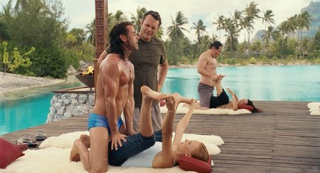"Yoga instructor in film ""Couple's retreat"" - a bad example of adjusting."