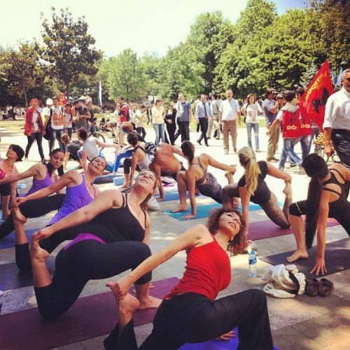 Yoga practitioners are hunkering down in Gezi Park
