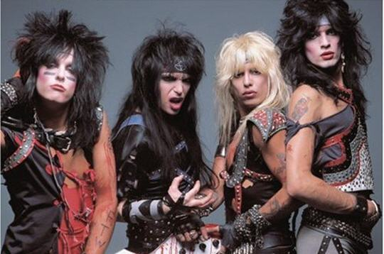 Motley Crue, l to r: Nikki Sixx, Mick Mars, Vince Neil and Tommy Lee