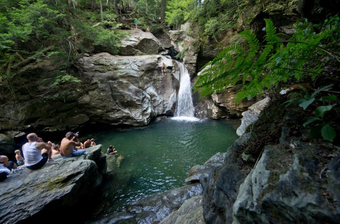 Vermont also has a strong tradition of skinney-dipping but I think  Bingham Falls is way too well-known a spot for that sort of thing.