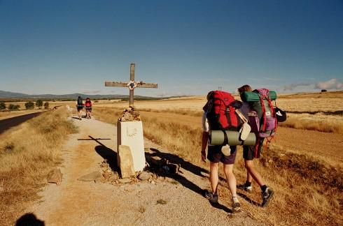 Pilgrims walking along Santiago de Compostela.