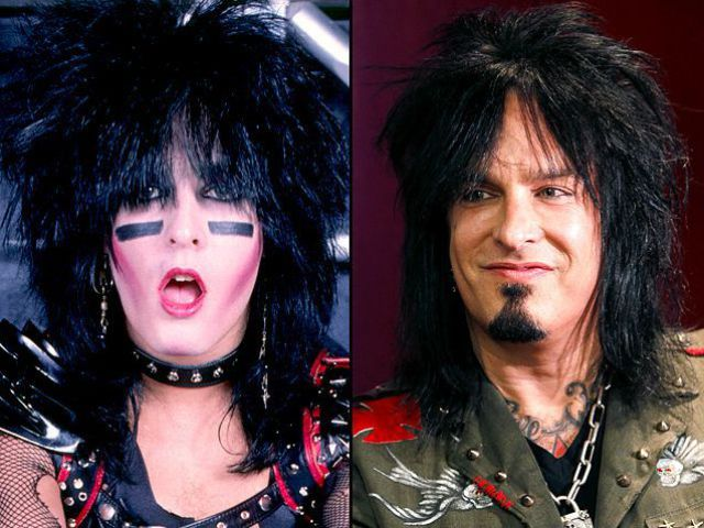 Left: Nikki Sixx then, at the height of Motley Crue's popularity and at the height of his drug and alcohol addiction around 1986-87. Right: Nikki, clean and sober, these days.
