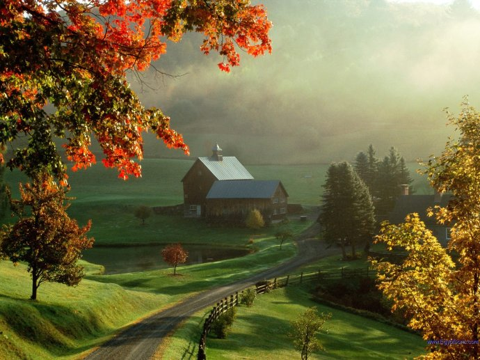 A typical Vermont farm scene.