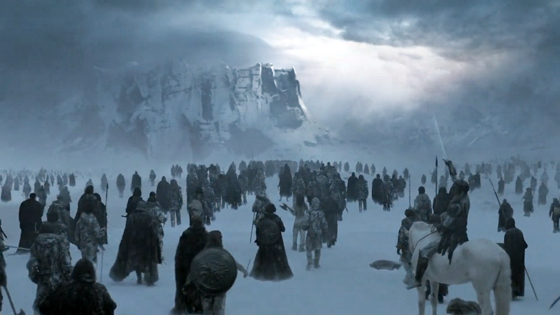An army of White Walkers marching towards the South.