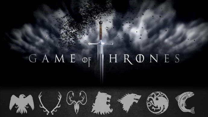 With the coat of arms representing the seven houses vying for the Iron Throne.