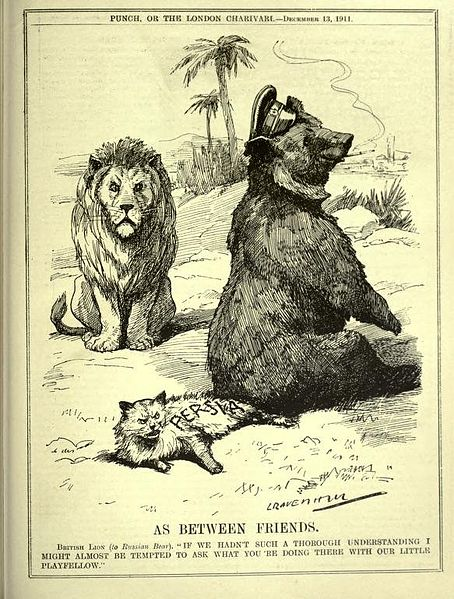 "Cartoon from the English satirical magazine Punch, or The London Charivari showing up Egregores effectively. With the Russian Bear sitting on the tail of the Persian cat while the British Lion looks on, it represents a phase of The Great Game. The caption reads: ""AS BETWEEN FRIENDS. British Lion (to Russian Bear). 'IF WE HADN'T SUCH A THOROUGH UNDERSTANDING I MIGHT ALMOST BE TEMPTED TO ASK WHAT YOU'RE DOING THERE WITH OUR LITTLE PLAYFELLOW.'"""