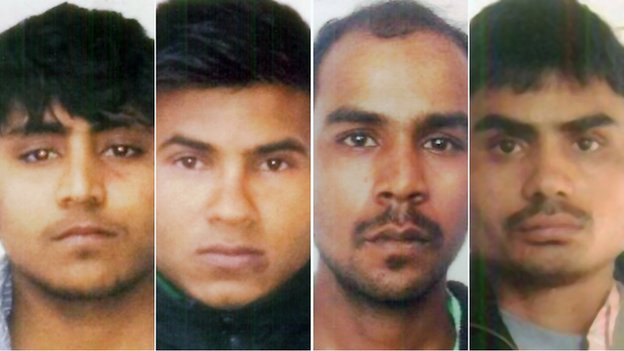 4 of the 5 Delhi rapists (the 5th hung himself in jail). from left to right: Vinay Sharma, Pawan Gupta, Mukesh Singh, Akshay Thakur