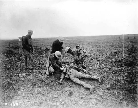 Fallen German soldier during the battle of Vimy Ridge, World War I