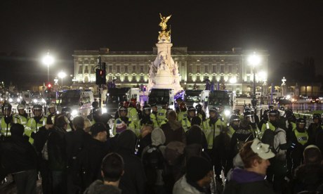 Anti-austerity demonstrations last night  in front of Buckingham Palace