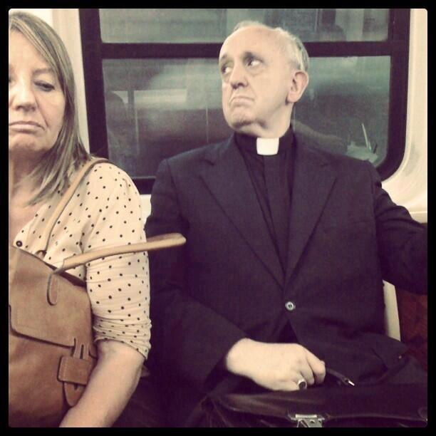 Pope Francis, before he was Pope, on public transport.