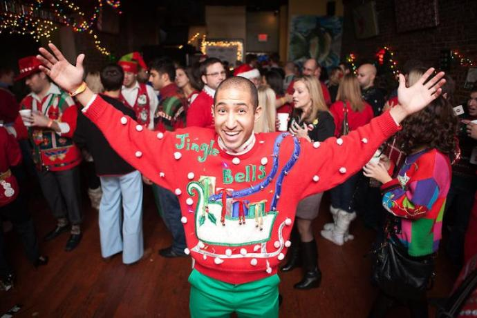 """Ugly Christmas Sweater parties are """"de rigeur"""" on the East Coast the last few years. Ebay has been selling out of these types of sweaters for years now."""
