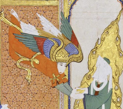 The Prophet Mohammed (PBUH) receiving the revelations of the Koran from the Angel Gabriel.