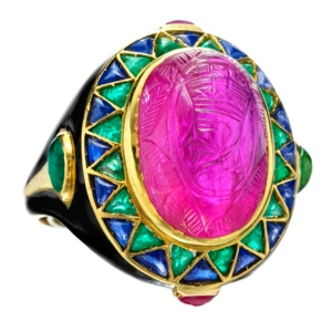 A typical Egyptian Art Deco Revival ring- by Cartier.