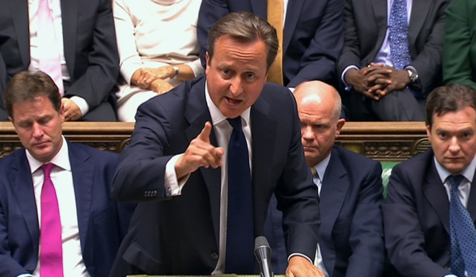 Britain's Prime Minister David Cameron is seen addressing the House of Commons in this still image taken from video in London