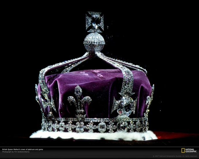 The Queen Mother's Crown with the Kohinoor Diamond set in the middle, taken from India of course and never given back.
