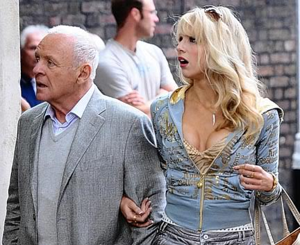 "Anthony Hopkins playing a sugar daddy, with Lucy Punch in ""You Will Meet a Tall Dark Stranger"""