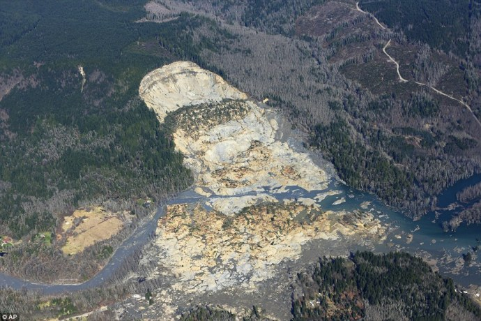 Aerial shot of the Washington  mudslide