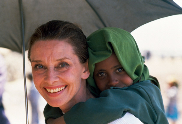 Audrey Hepburn in Ethiopia for UNICEF. She helped out UNICEF because UNICEF helped her during WWII  while her family were hungry in Holland during the Nazi occupation.