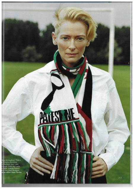 La Swinton wearing a scarf designed by Bella Freud