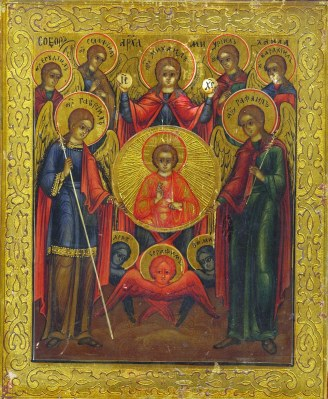 Greek Orthodox icon of Seven Archangels. From left to right: Jegudiel, Gabriel, Selaphiel, Michael, Uriel, Raphael, Barachiel. Beneath the mandorla of Christ-Emmanuel are representations of Cherubim (blue) and Seraphim (red).