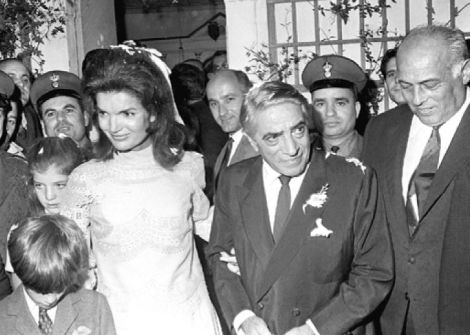 The wedding of Jackie Kennedy to Aristotle Onassis. The two Kennedy kids, caroline and JKF Jr. don't look very happy, do they?