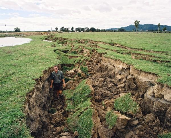 An earthquake rift in New Zealand