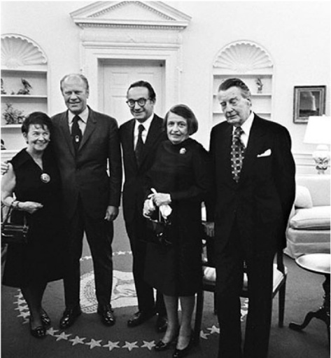 Friends in high places. Rand and her husband, with former president Gerald Ford and chairman of the Federal Reserve, Alan Greenspan.