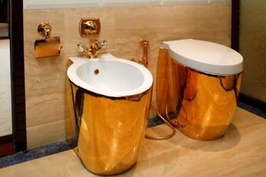 Matching gold toilet and bidet, from the Dubai Boat Show.
