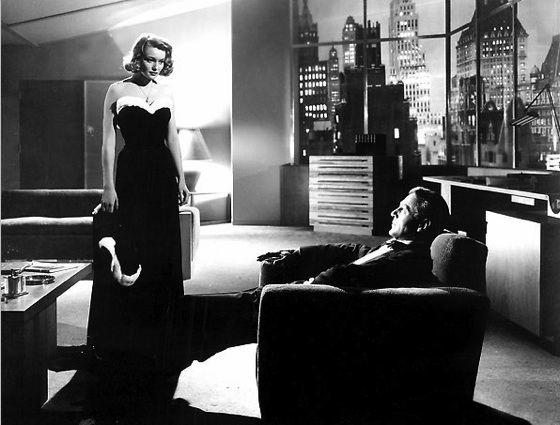 Dominique Francon (Patricia Neal) staring down Howard Roark (Gary Cooper).