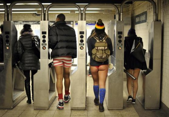 New Yorkers during their annual No Pants Subway ride