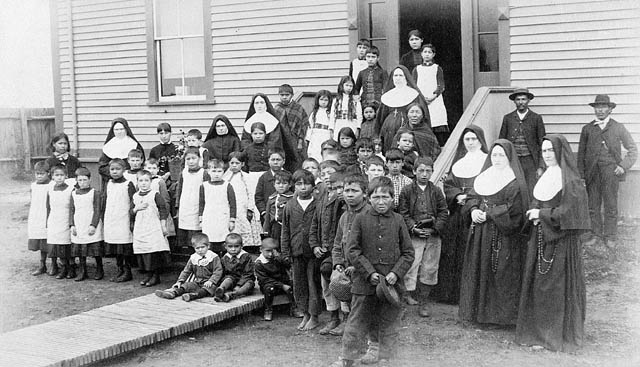 Many, many children were taken away from their families and forcibly placed in the Residential School system, often run by various Church ministries. That legacy is horrific.