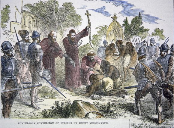 Forced conversion of First nations peoples by Jesuit missionaries