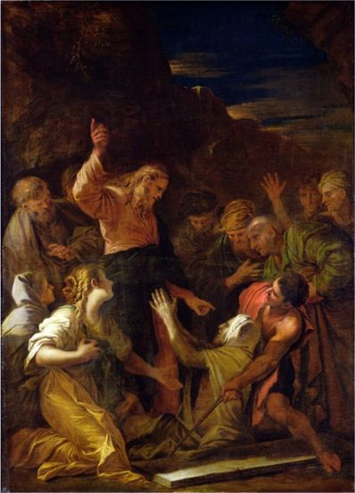Jesus cleaning a leper.