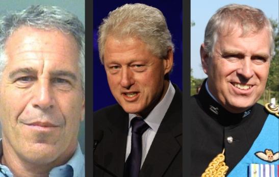 L-R, Jeffrey Epstein, Bill Clinton, Prince Andrew